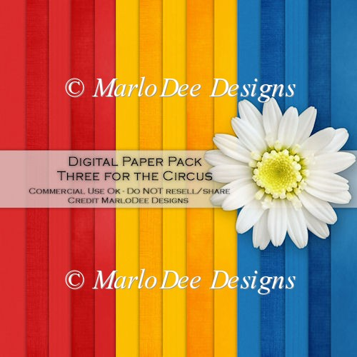 Three for the Circus Card Stock Digital Papers
