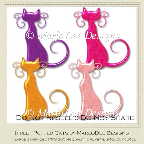 {Free} Textured Plastic Looking Puffed Cat Graphics
