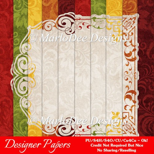 Fall Season 1 Colors Pattern Digital Paper Backgrounds 3