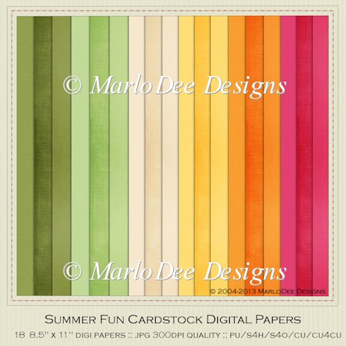 Summer Fun A4 size Card Stock Digital Papers Package