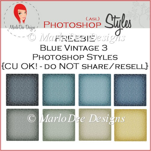 Blue Vintage 3 Photoshop Styles {.asl file} - FREEBIE