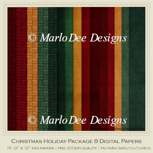 Christmas Holiday Package 8 Digital Papers 1