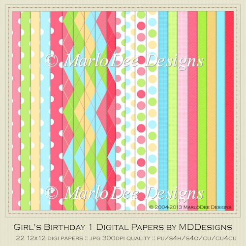 Girl's Birthday Digital Papers by MDDesigns - Click Image to Close