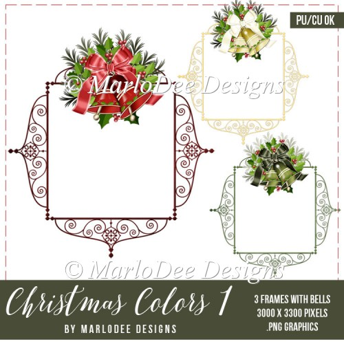 Christmas Frame with Holiday Bells Graphics | Christmas Colors 1 - Click Image to Close