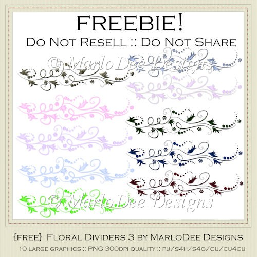 {Free} Floral Dividers Pkg3 Graphics by MarloDee Designs