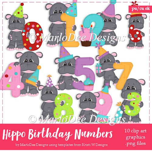 Hippo Birthday Numbers 0-9 Clip Art Collection