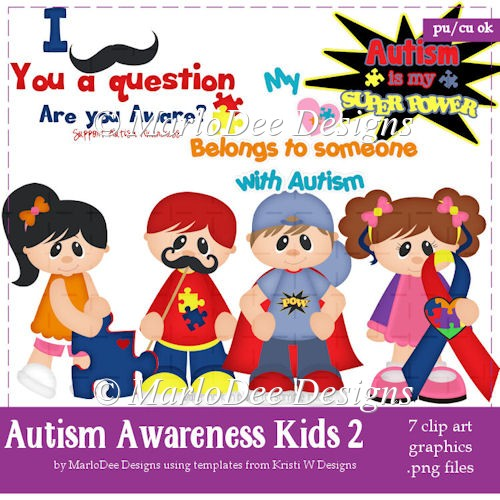 Autism Awareness Children Clip Art Graphics by MarloDee Designs - Click Image to Close