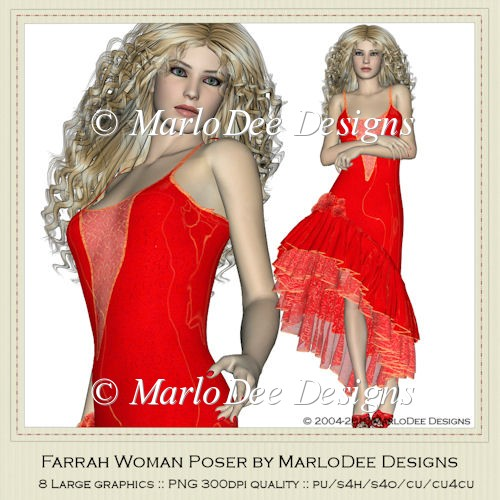 Farrah in Red Woman Poser Graphics by MarloDee Designs
