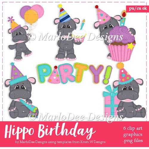 Hippo Birthday Party Clip Art Collection