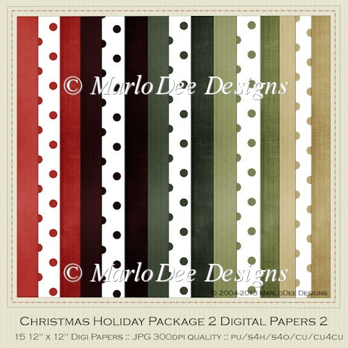 Christmas Holiday Package 2 Digital Papers Pkg 2