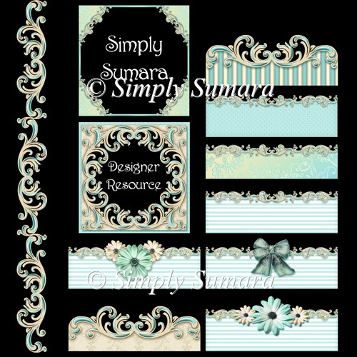 Designer Resource Mixed Mint Emellishment Pack
