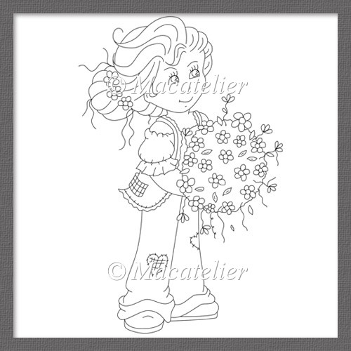 Frankie's Ball of Flowers Digi Stamp