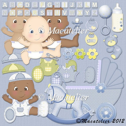 CU Baby Clipart: Blue