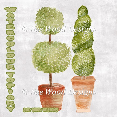 2 Original Water Colour Topiary Clipart.