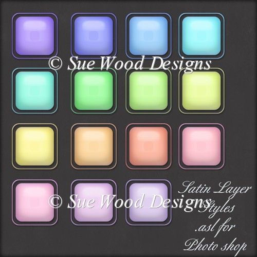 Simple Satin embossed Layer Styles for Photo Shop. .asl - Click Image to Close