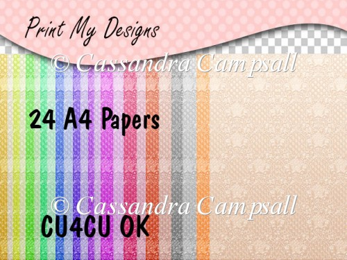 24 Damask Style A4 papers