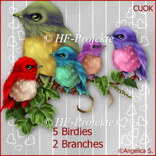 CU Birdies with Branch - Click Image to Close