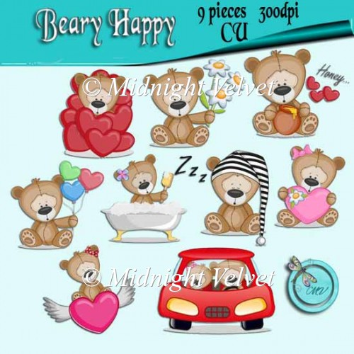 Beary Happy element pack - Click Image to Close