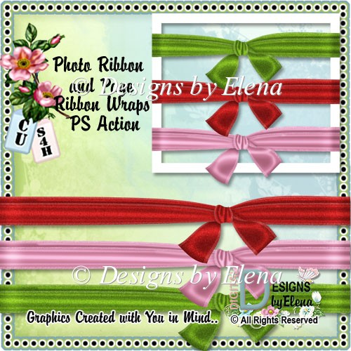 Photo Ribbon and Page Ribbon Wrap PS Action