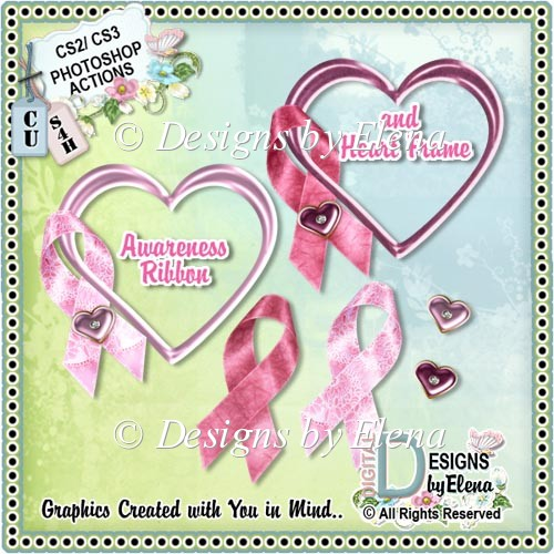 Awareness Ribbon and Heart Frame Photoshop Action