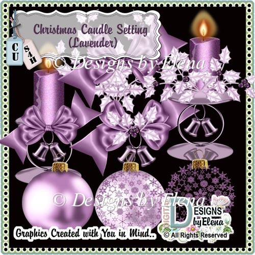 Christmas Candle Setting (Lavender) - Click Image to Close