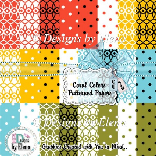 Coral Color Patterned Papers