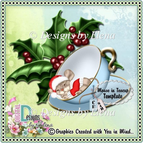 Mouse in Teacup Template