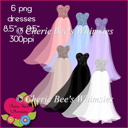 Glitter Gowns Graphics, Beautiful Dresses Clip Art, Six Colors