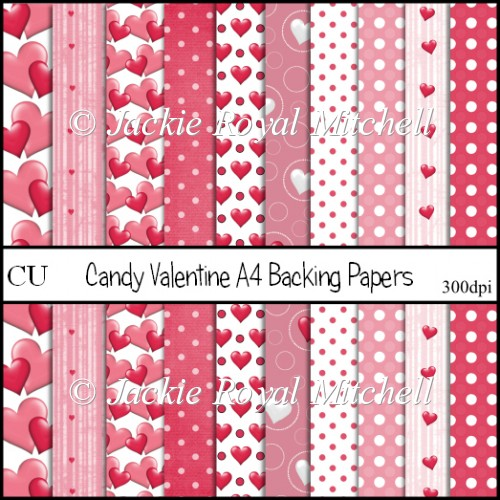 Candy Valentine A4 Backing Papers