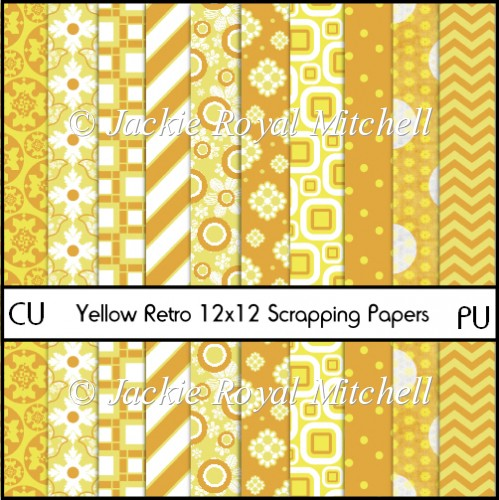Yellow Retro 12x12 Scrapping Papers