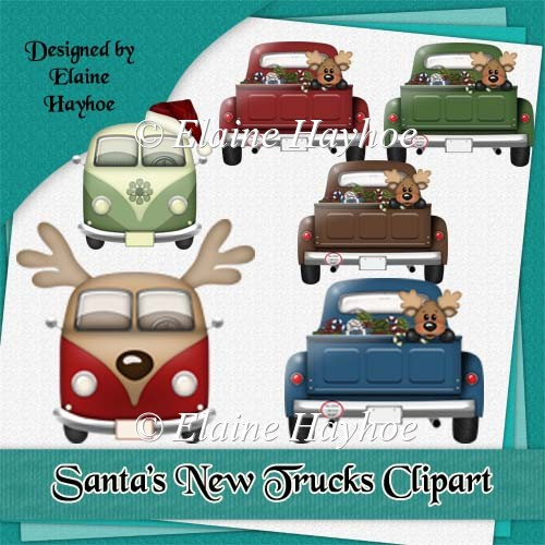Santa's New Trucks Clipart