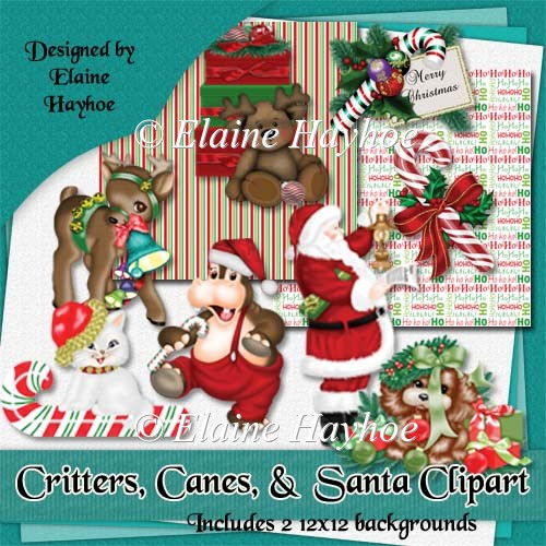 Critters Canes and Santa Clipart
