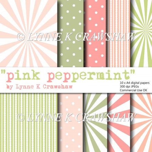 """PINK PEPPERMINT"" 10 X A4 high quality printable digital papers"