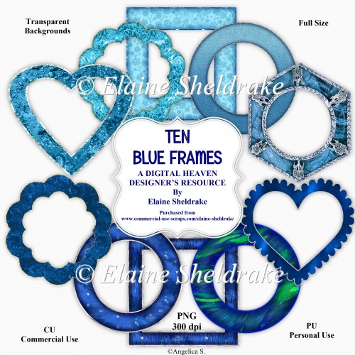 Ten Blue Frames - Designer Resource For Commercial Use - CU