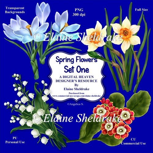 Spring Flowers Set One - CU Designer Resource For Commercial Use