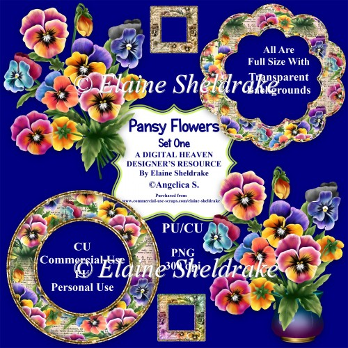 Pansy Flowers Set One - Designer Resource For CU & PU