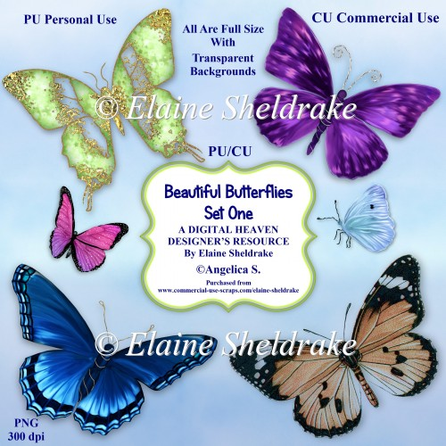 Beautiful Butterflies - Set One - CU Designer Resource For CU PU