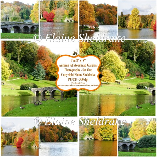 "Autumn At Stourhead Gardens Ten 8"" x 8"" Photographs PU/CU 300dpi"