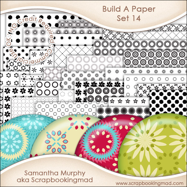 JUMBO SET - Build A Paper Set 14 - PNG FILES & .PAT File - CU OK