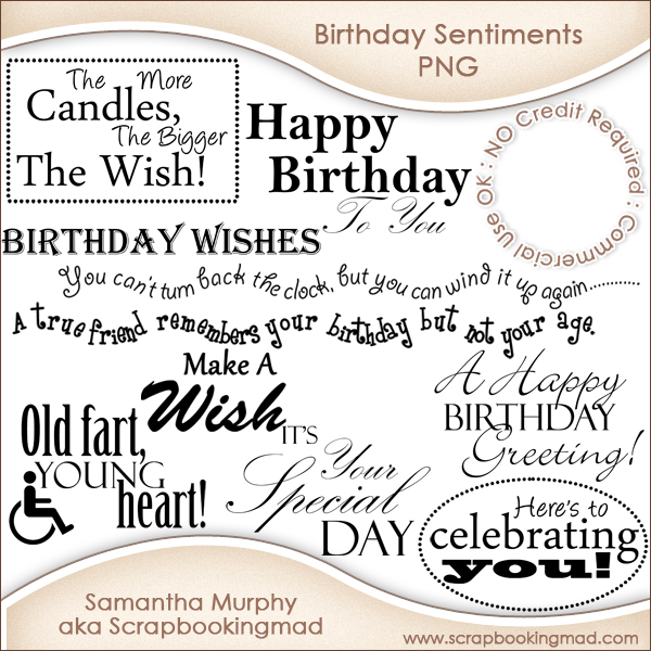 12 Birthday Sentiments Word Art Png Cu Ok 150 Commercial Use